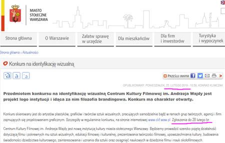 zrzut ekranu strony UM Warszawa