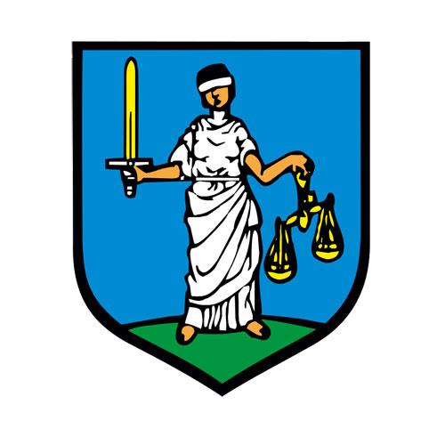Janowiec Wielkopolski herb z Temidą