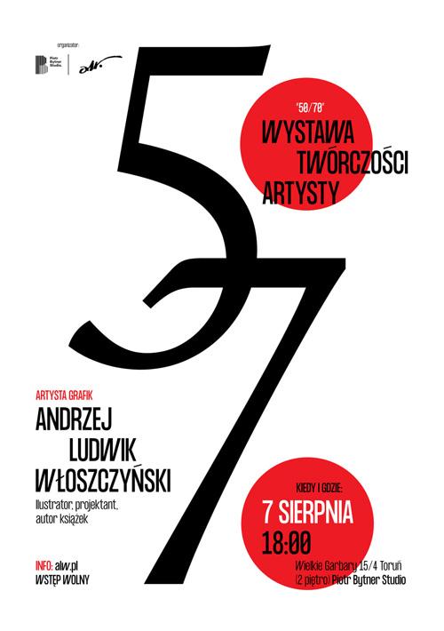 plakat wystawy 50/70 Andrzeja-Ludwika Włoszczyńskiego, autor Piotr Bytner